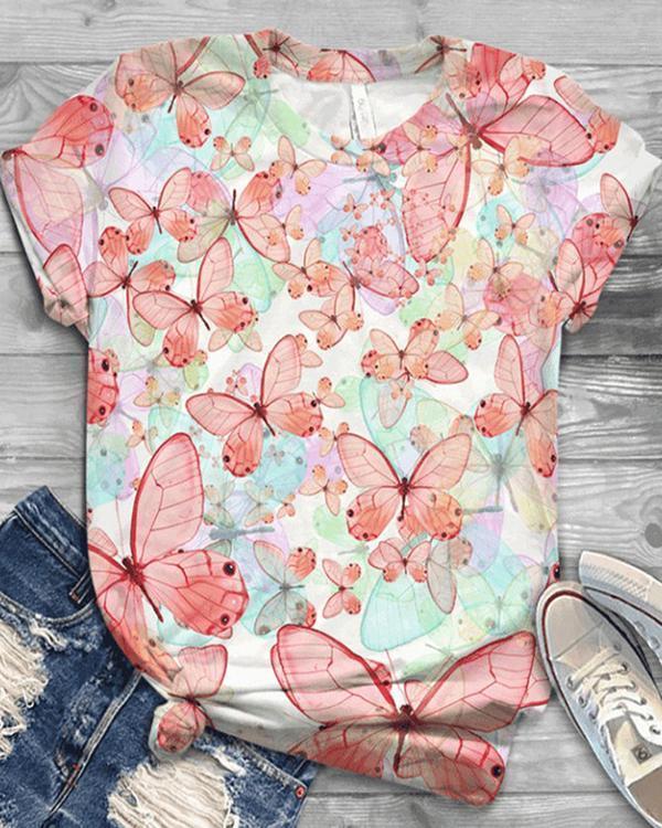 Plus Size Short Sleeve Cotton-Blend Shirts & Tops