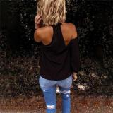 Women Fashion Blouse Halter Solid Color Shirt Casual Off Shoulder Plus Size Blouse