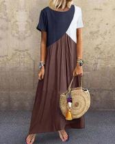 Plus Size Stitching Color Short Sleeve Maxi Dress