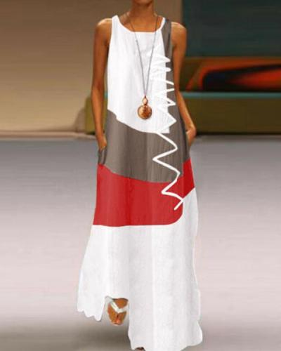 Plus Size Sleeveless Color Block Print Dress