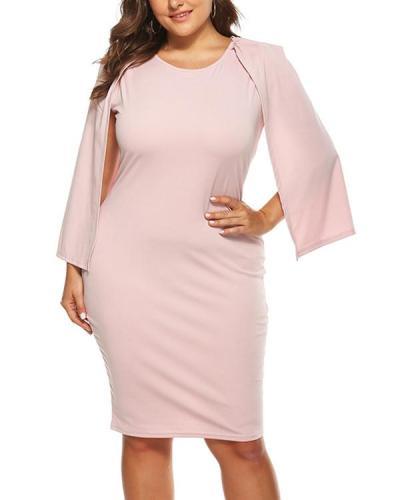 Plus Size Casual Solid Pencil Bodycon Dress
