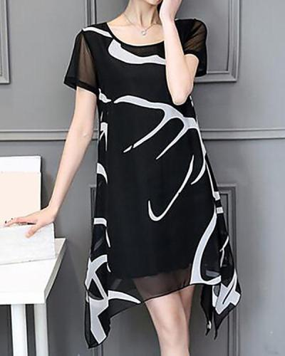 Plus Size Daily Weekend Chiffon Dress