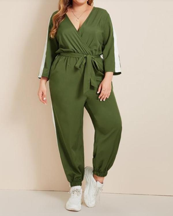 Colorblock Suprlice Front Belted Jumpsuit