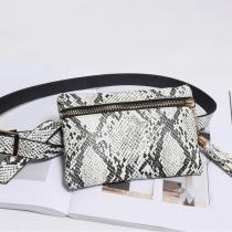 Women Snake Pattern Waist Bag Square Tassel Bag