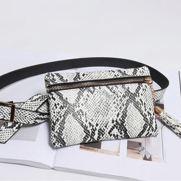 Women Snake Pattern Waist Bag Square Tassel Bag