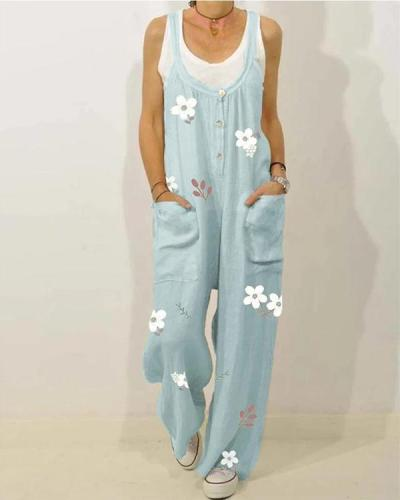 Button Floral Print Straps Loose Casual Jumpsuit For Women