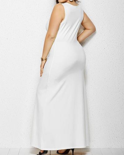 Casual O-neck Sleeveless Plus Size Long Dress