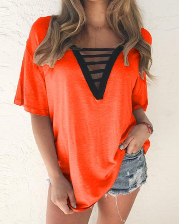 Women Hollow Out V-Neck Casual Blouse