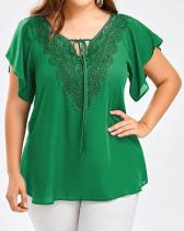Plus Size Solid Elegant Short Sleeve Blouses