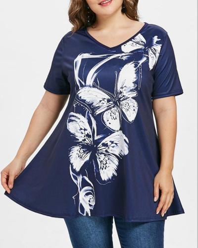 Casual Flowers Print V-neck Plus Size Blouse
