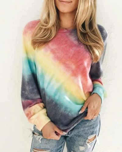 Casual Plus Size Tie-Dye Long Sleeve Sweatshirt