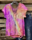 Women Multicolor Simple Short Sleeve Round Neck Shirts