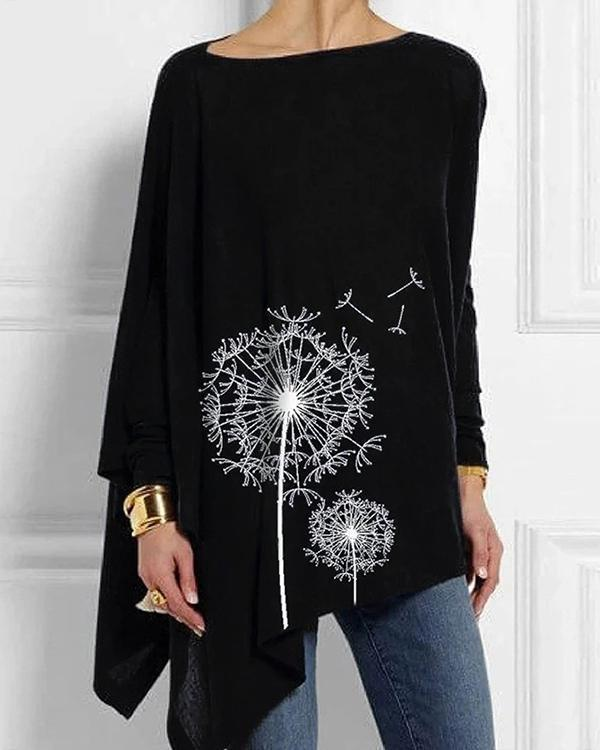 Printed Casual Long Sleeve Irregular Blouses