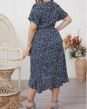 Floral Print Ruffled Plus Size Dress