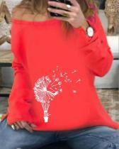 Women Dandelion Print Long Sleeve Daily Shirts