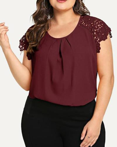 Round Neck Solid Chiffon Lace Short Sleeve Top
