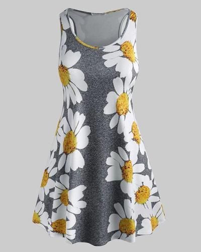 Plus Size Daisy Print Mini Tent Dress