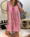 Casual Floral Printed Crew Neck Plus Size Dress