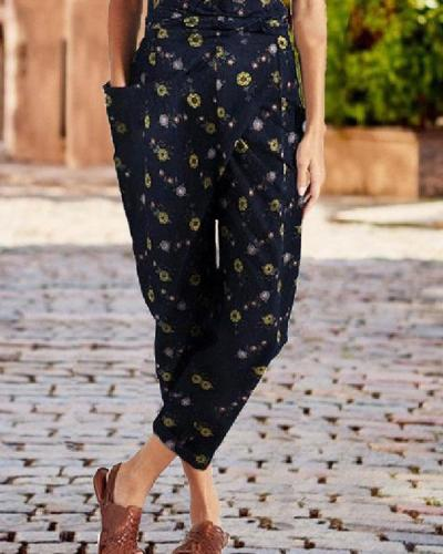 Printed Casual Wrap Pocket Irregular Harem Pants With Belt