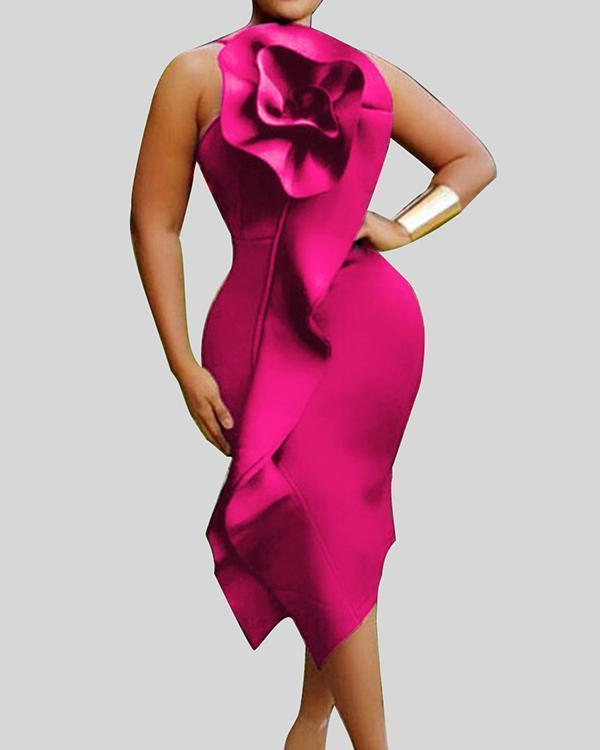 Chic Flounce Red Mid Calf Plus Size Dress