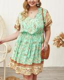 Bohemia Floral Print V-neck Plus Size Dress