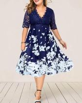 Plus Size Elegant Floral Midi X-line Dress