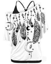 Plus Size Feather Print Skew Neck Tank T-shirt
