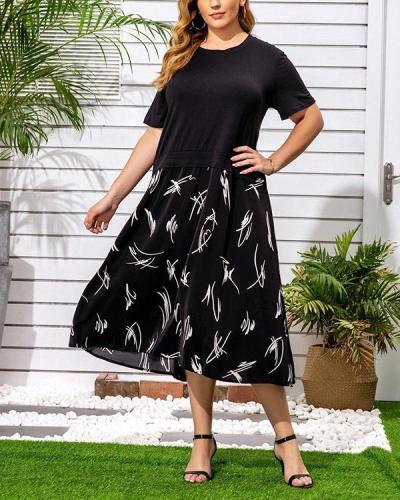 Plus Size Casual Floral Tunic Round Neck A-line Dress