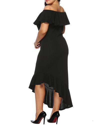 Asymmetric Plus Size Off-shoulder Ruffle Dress