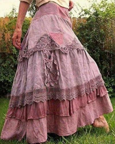 Color Block Maxi Casual Lace Skirts