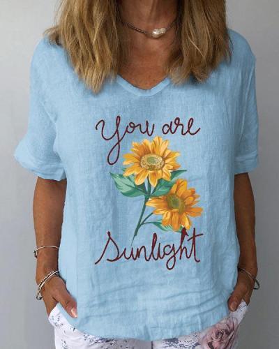 Short Sleeve Sunflower Print Casual Women T-Shirts