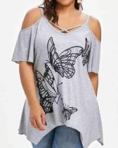 Tunic Butterfly Print Cold Shoulder Cross Top