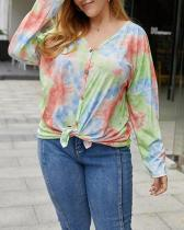 Fashion Knitted Tie-dye Top