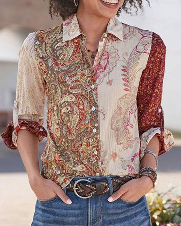 Casual Paisley Cotton Shirts & Tops