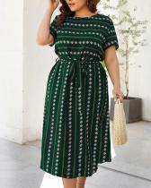 Plus Size Wrap Color Block Casual Sashes Dress