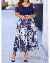 Plus Size Floral Print Cold Shoulder Short Sleeves Midi Elegant Dress