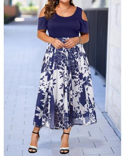 Plus Size Floral Print Cold Shoulder Short Sleeves Midi Elegant Dress