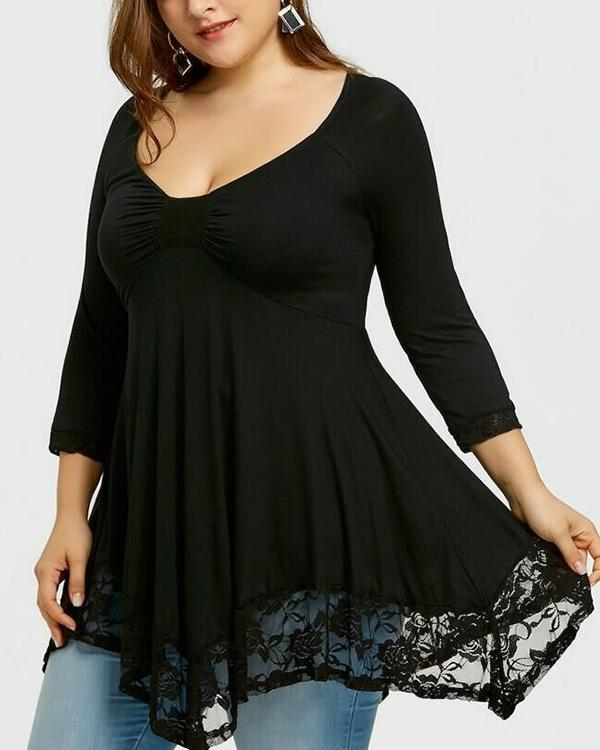 Plus Size Solid Casual V-Neck 3/4 Sleeves Blouses