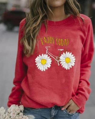 Floral Casual Round Neckline Sweatshirts