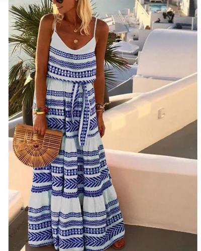 Summer Boho Plus Size V Neck Gallus Maxi Dress