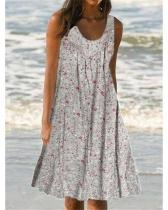 Printed Round Neck Sleeveless Plus Size Dresses