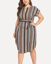 Plus Size Casual Color Block Wrap V-Neck Dress