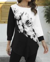 Elegant Floral Print Color-block Casual Irregular T-shirts Tops