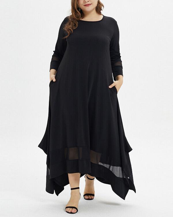 Plus Size Solid 3/4 Sleeve  Elegant Dress