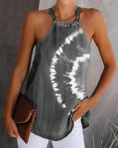 Sexy Off-Shoulder Printed Sleeveless Vest