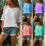 Plus Size Casual Plain Crew Neck Short Sleeve Blouses Tops