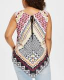Ethnic Style Lace-up Printed Vest