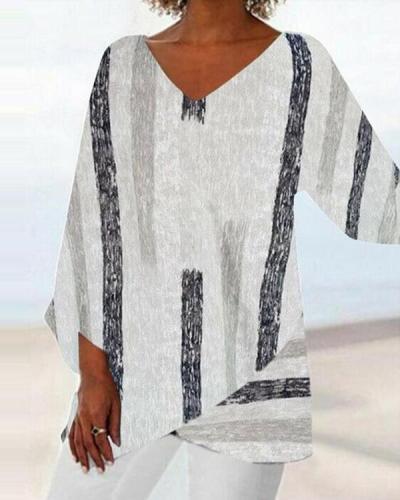 Women Casual Long Sleeve V-neck Striped Printed Irregular Hem Top