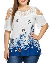 Printed Cold Shoulder Plus Size Tunic Casual Top
