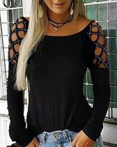Plus Size Hollow-Out Shoulder Long Sleeve Blouse